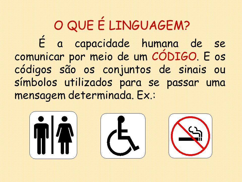 Tipos de linguagem: VERBAL Aquela que utiliza a língua (oral ou escrita) e que se manifesta por meio das PALAVRAS.
