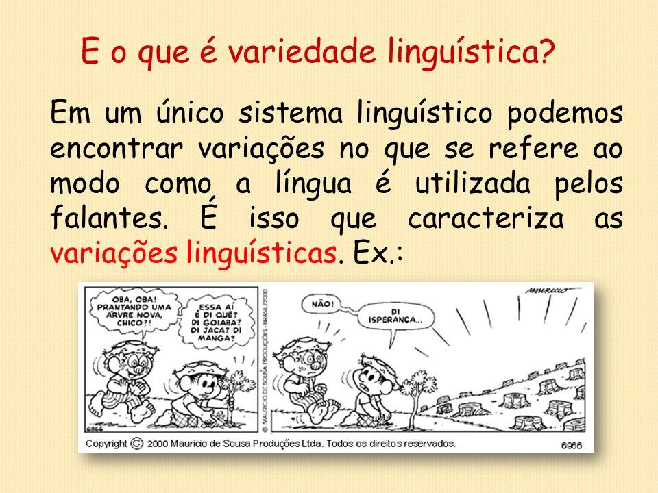 E o que é variedade linguística? Em um único sistema linguístico podemos encontrar variações no que se refere ao modo como a língua é utilizada pelos