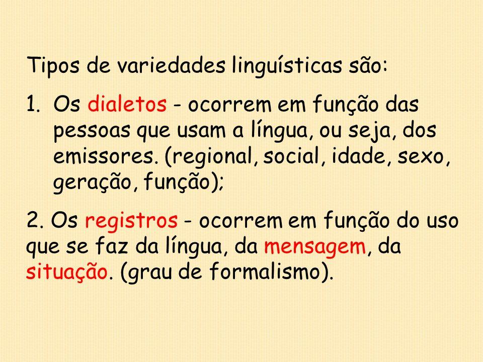Tipos de variedades linguísticas são: 1.Os dialetos - ocorrem em função das pessoas que usam a língua, ou seja, dos emissores. (regional, social, idad