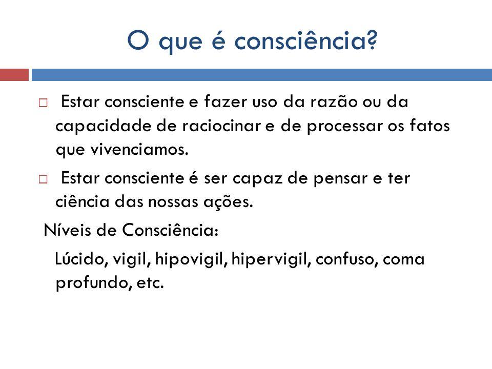 O que é consciência? Estar consciente e fazer uso da razão ou da capacidade de raciocinar e de processar os fatos que vivenciamos. Estar consciente é