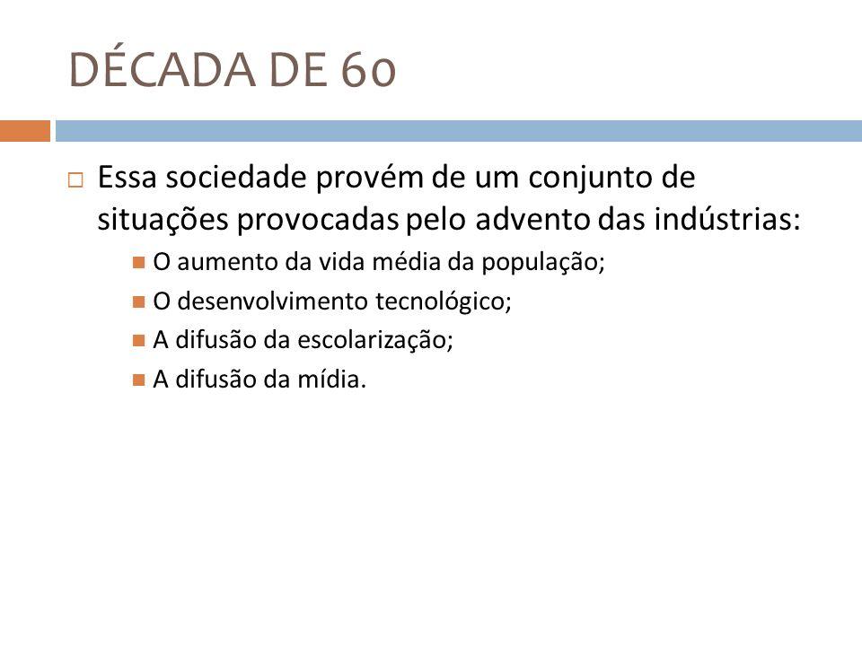 DÉCADA DE 60 Essa sociedade provém de um conjunto de situações provocadas pelo advento das indústrias: O aumento da vida média da população; O desenvo
