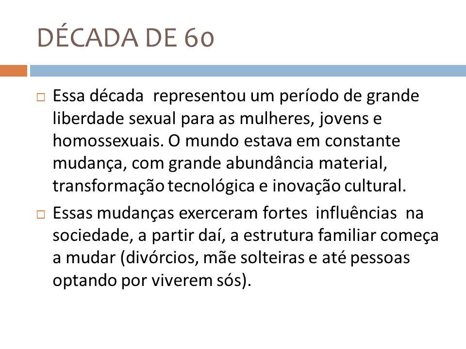 DÉCADA DE 60 Essa década representou um período de grande liberdade sexual para as mulheres, jovens e homossexuais. O mundo estava em constante mudanç