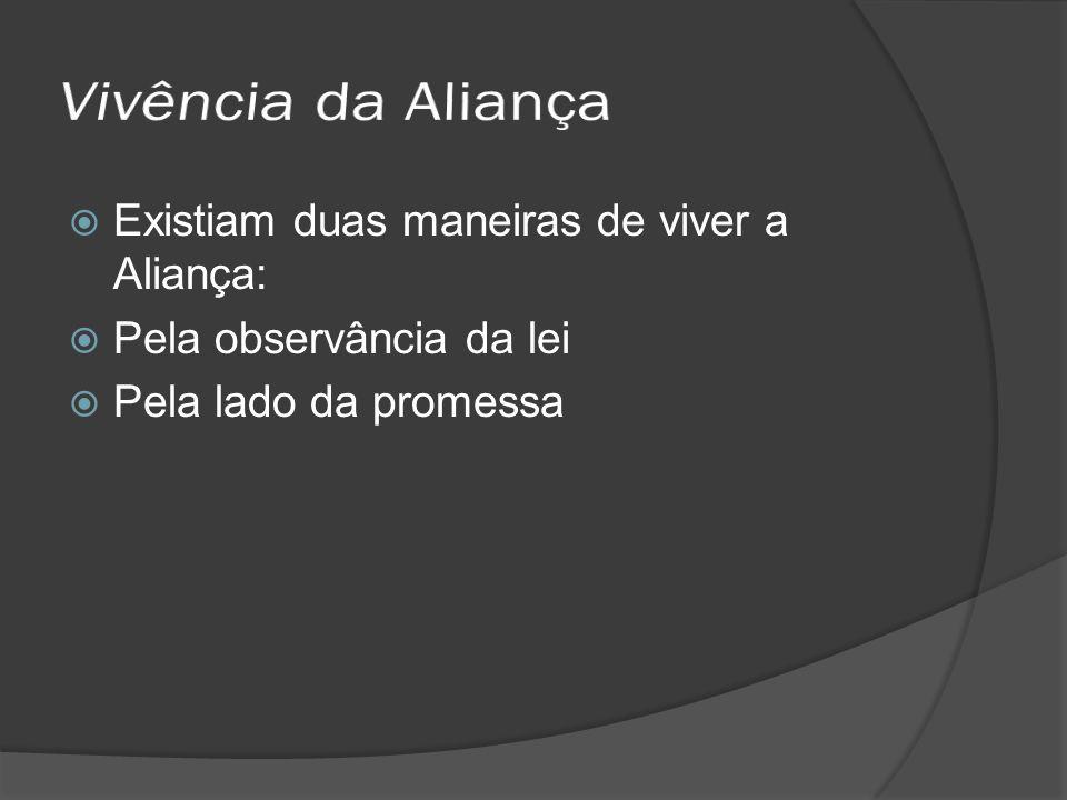 Existiam duas maneiras de viver a Aliança: Pela observância da lei Pela lado da promessa