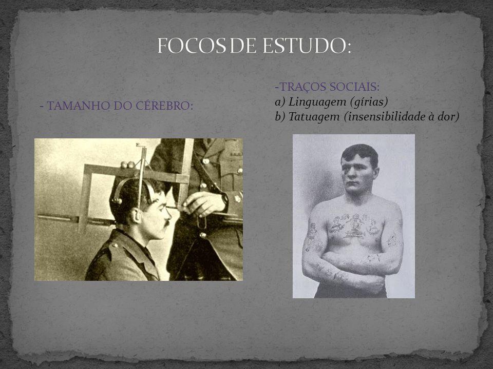- TAMANHO DO CÉREBRO: anímicas: -TRAÇOS SOCIAIS: a) Linguagem (gírias) b) Tatuagem (insensibilidade à dor)