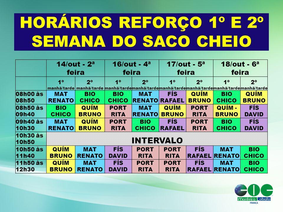 HORÁRIOS REFORÇO 1º E 2º SEMANA DO SACO CHEIO 14/out - 2ª feira 16/out - 4ª feira 17/out - 5ª feira 18/out - 6ª feira 1º manhã/tarde 2º manhã/tarde 1º