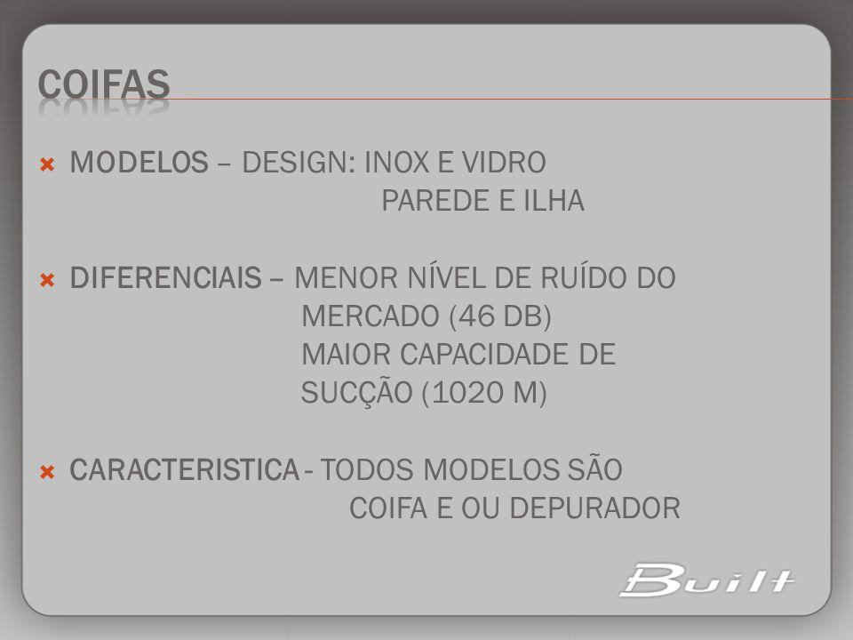 MODELOS – DESIGN: INOX E VIDRO PAREDE E ILHA DIFERENCIAIS – MENOR NÍVEL DE RUÍDO DO MERCADO (46 DB) MAIOR CAPACIDADE DE SUCÇÃO (1020 M) CARACTERISTICA
