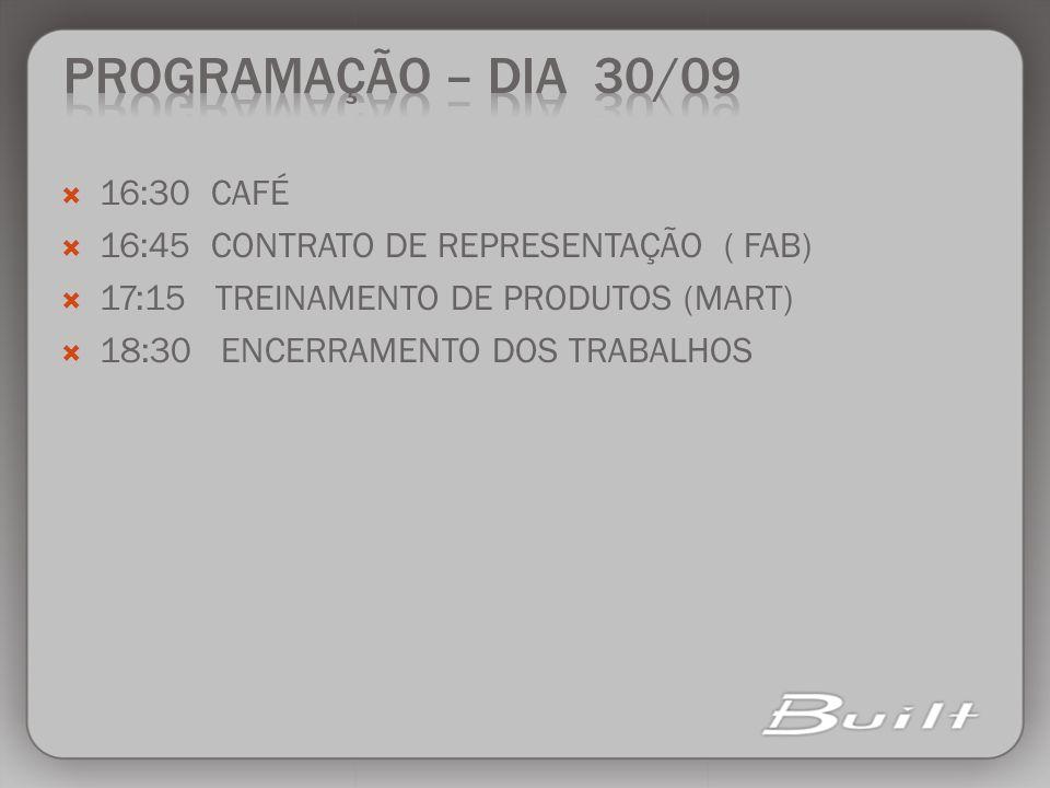 16:30 CAFÉ 16:45 CONTRATO DE REPRESENTAÇÃO ( FAB) 17:15 TREINAMENTO DE PRODUTOS (MART) 18:30 ENCERRAMENTO DOS TRABALHOS