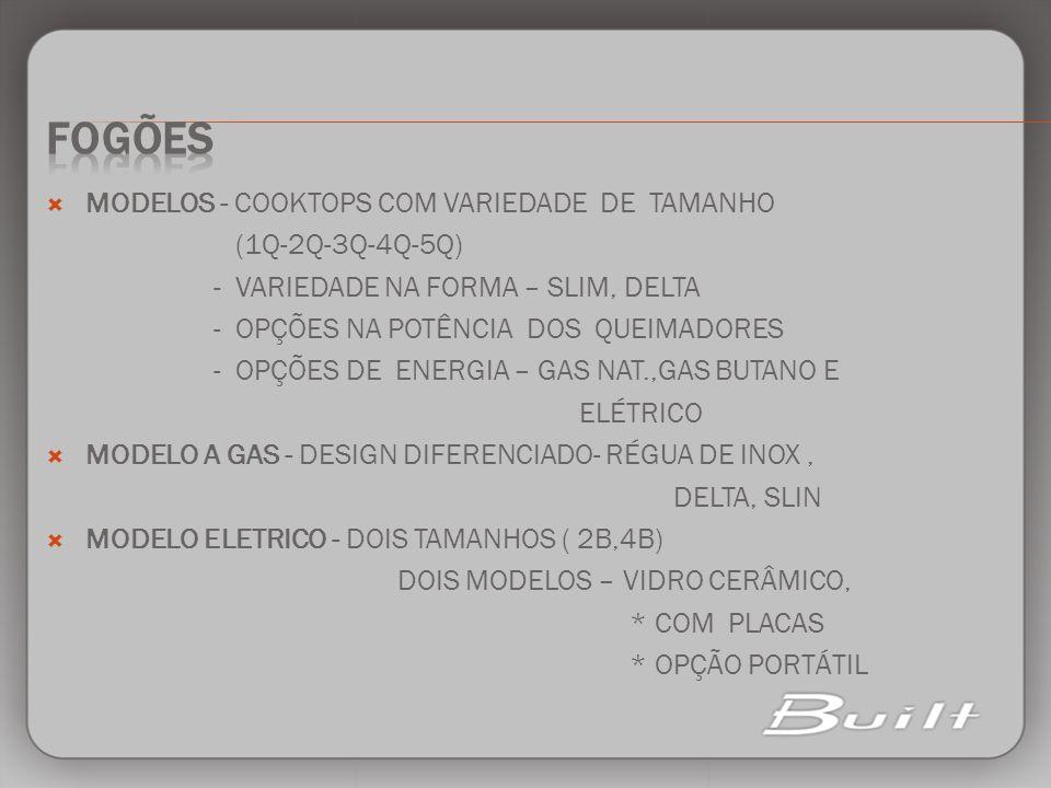 MODELOS - COOKTOPS COM VARIEDADE DE TAMANHO (1Q-2Q-3Q-4Q-5Q) - VARIEDADE NA FORMA – SLIM, DELTA - OPÇÕES NA POTÊNCIA DOS QUEIMADORES - OPÇÕES DE ENERG