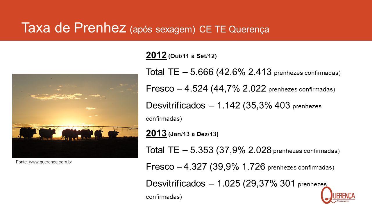 Taxa de Prenhez (após sexagem) CE TE Querença 2012 (Out/11 a Set/12) Total TE – 5.666 (42,6% 2.413 prenhezes confirmadas) Fresco – 4.524 (44,7% 2.022