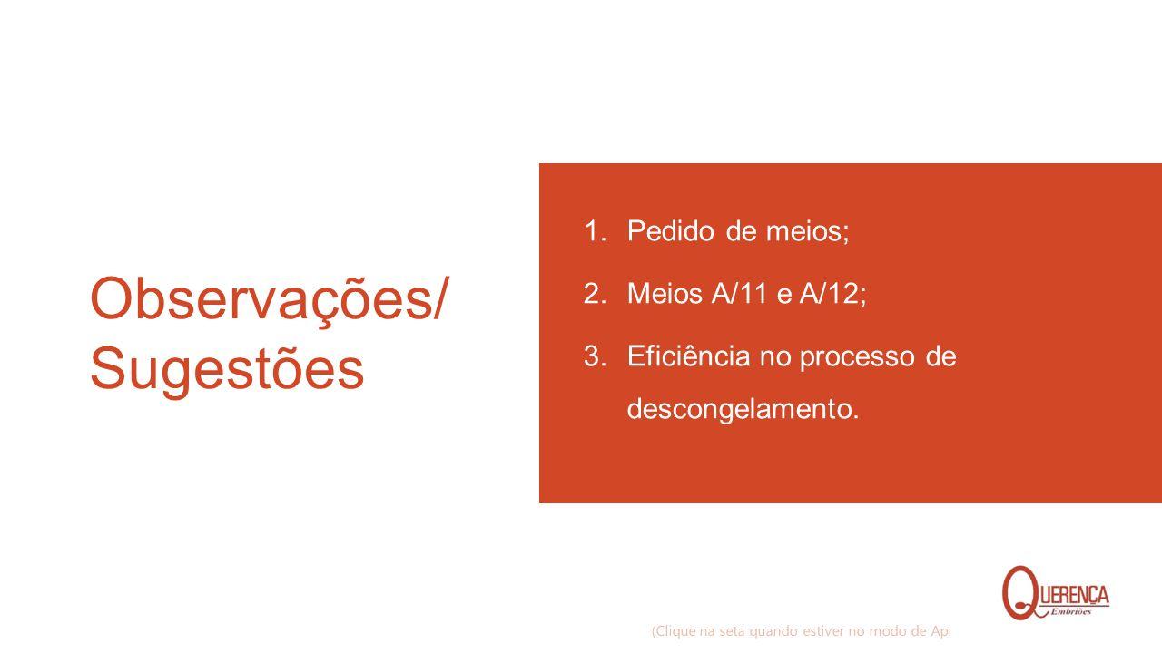 Observações/ Sugestões 1. Pedido de meios; 2. Meios A/11 e A/12; 3. Eficiência no processo de descongelamento. (Clique na seta quando estiver no modo