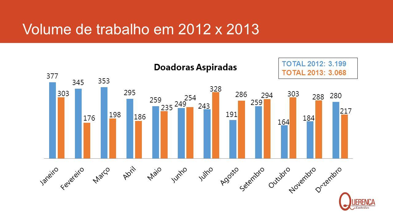 Volume de trabalho em 2012 x 2013 TOTAL 2012: 3.199 TOTAL 2013: 3.068