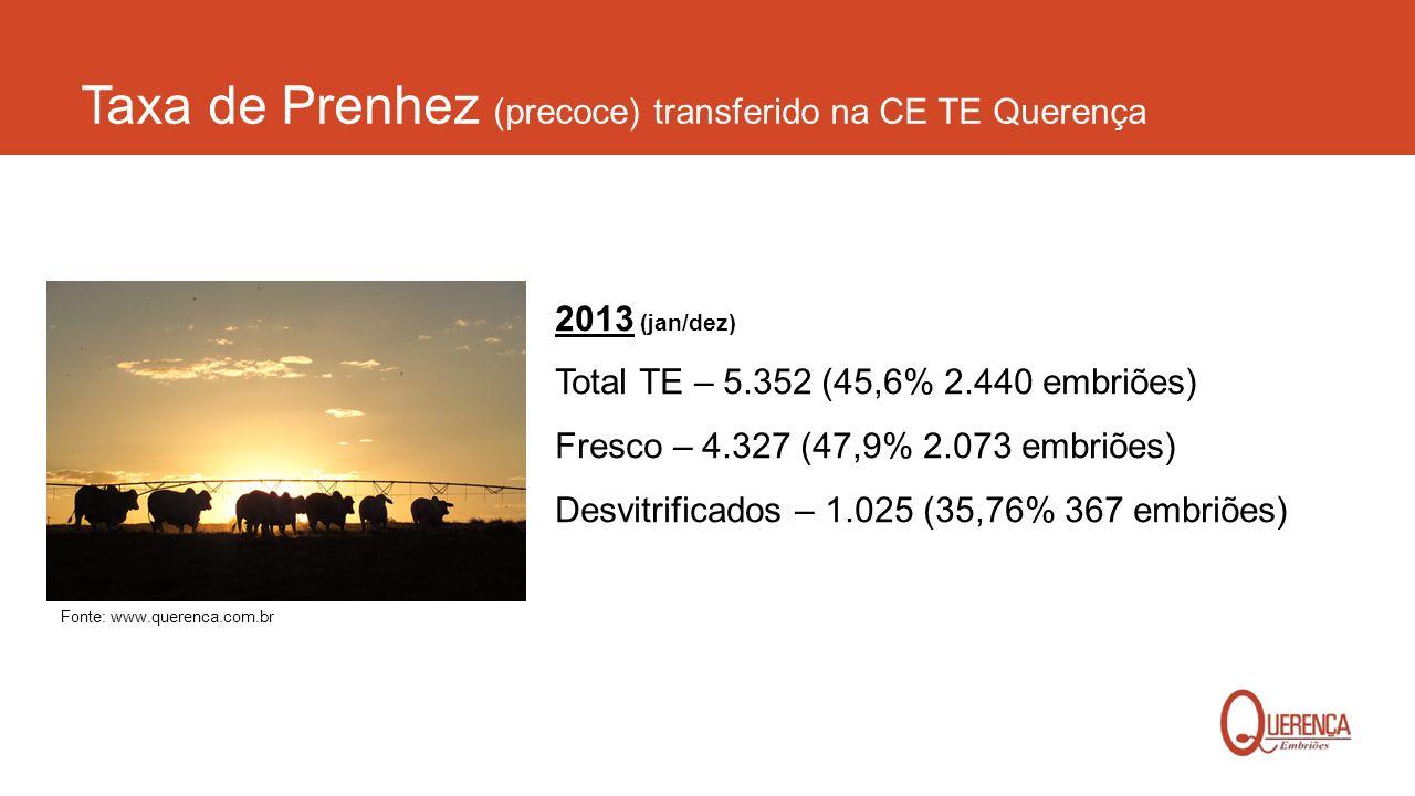 Taxa de Prenhez (precoce) transferido na CE TE Querença 2013 (jan/dez) Total TE – 5.352 (45,6% 2.440 embriões) Fresco – 4.327 (47,9% 2.073 embriões) D