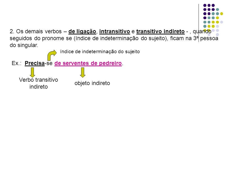 2. Os demais verbos – de ligação, intransitivo e transitivo indireto -, quando seguidos do pronome se (índice de indeterminação do sujeito), ficam na