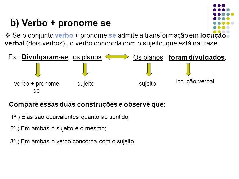 Se o conjunto verbo + pronome se admite a transformação em locução verbal (dois verbos), o verbo concorda com o sujeito, que está na frase. Ex.: Divul