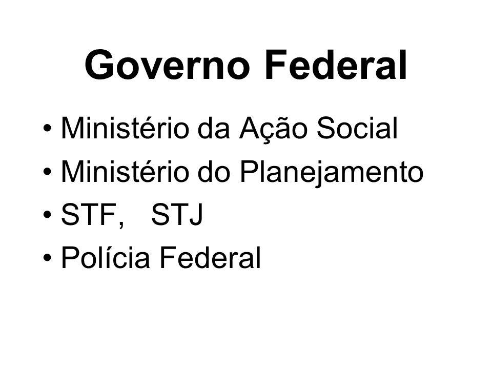 Governo Federal Ministério da Ação Social Ministério do Planejamento STF, STJ Polícia Federal