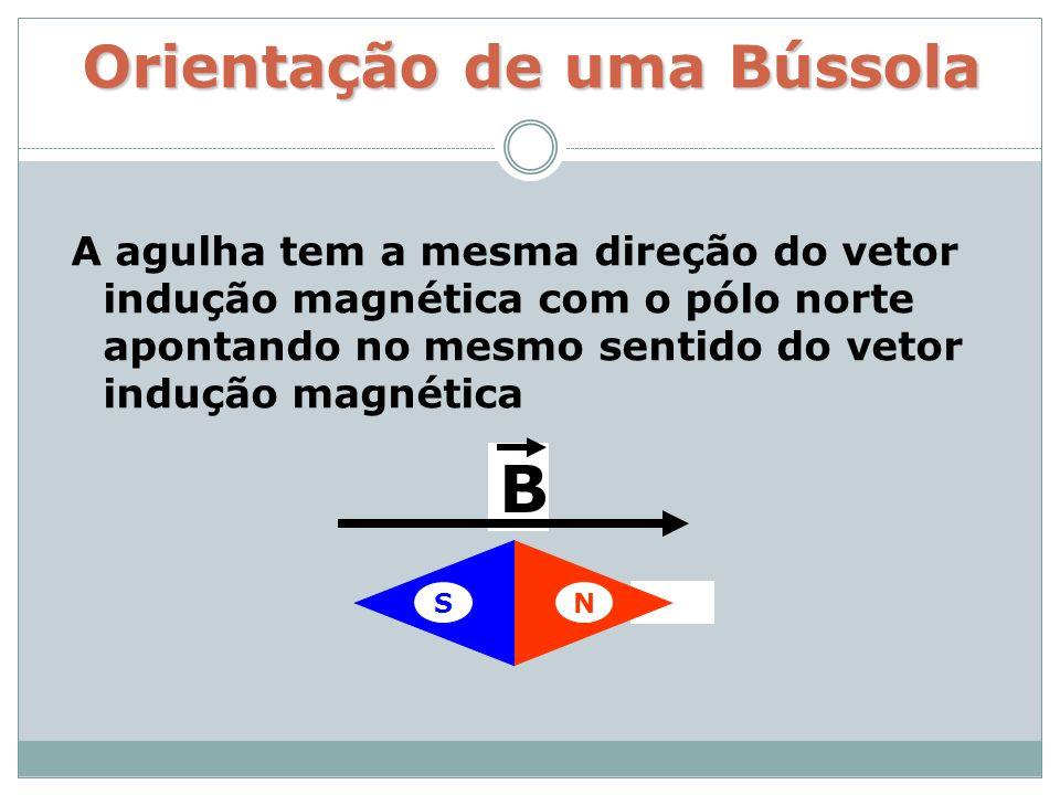 Orientação de uma Bússola A agulha tem a mesma direção do vetor indução magnética com o pólo norte apontando no mesmo sentido do vetor indução magnéti