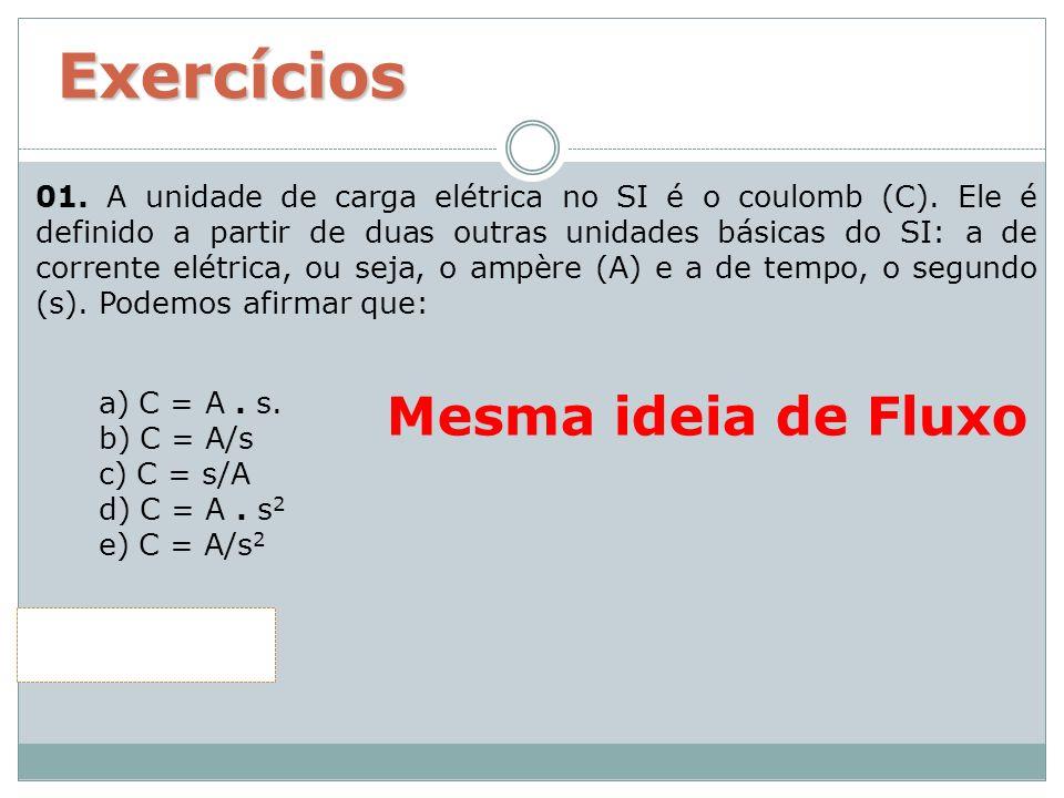 Exercícios 01. A unidade de carga elétrica no SI é o coulomb (C). Ele é definido a partir de duas outras unidades básicas do SI: a de corrente elétric