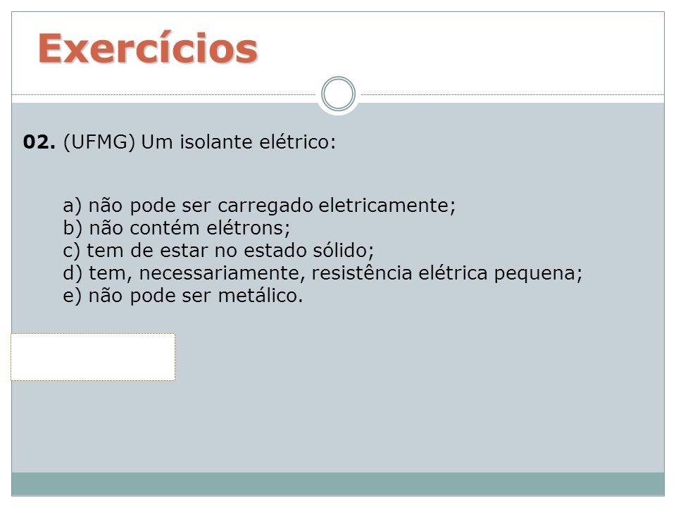 02. (UFMG) Um isolante elétrico: a) não pode ser carregado eletricamente; b) não contém elétrons; c) tem de estar no estado sólido; d) tem, necessaria