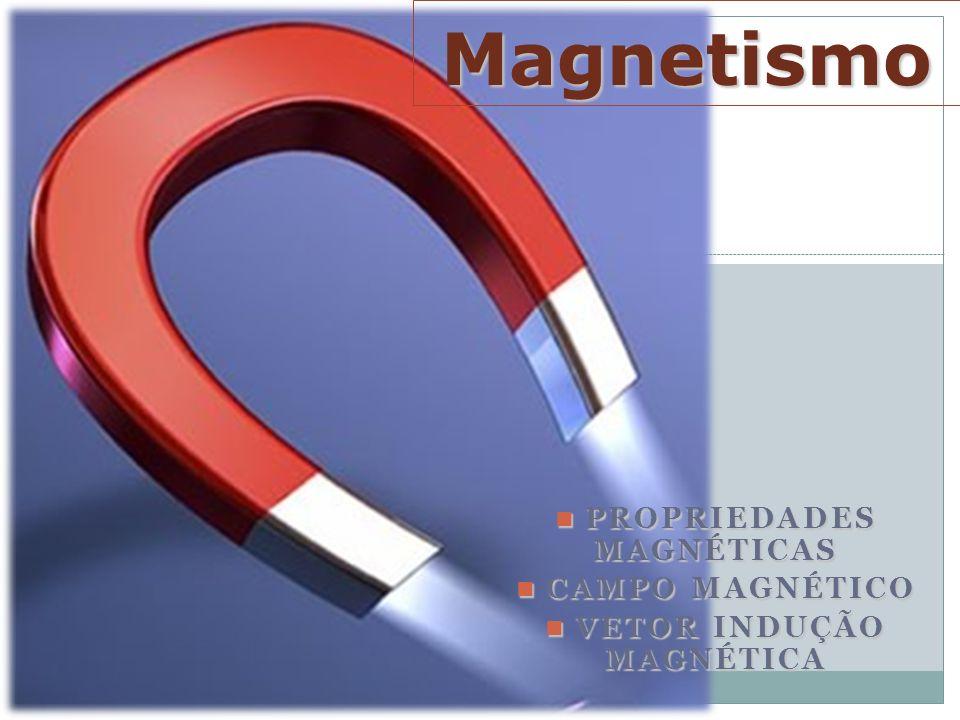 PROPRIEDADES MAGNÉTICAS PROPRIEDADES MAGNÉTICAS CAMPO MAGNÉTICO CAMPO MAGNÉTICO VETOR INDUÇÃO MAGNÉTICA VETOR INDUÇÃO MAGNÉTICA Magnetismo