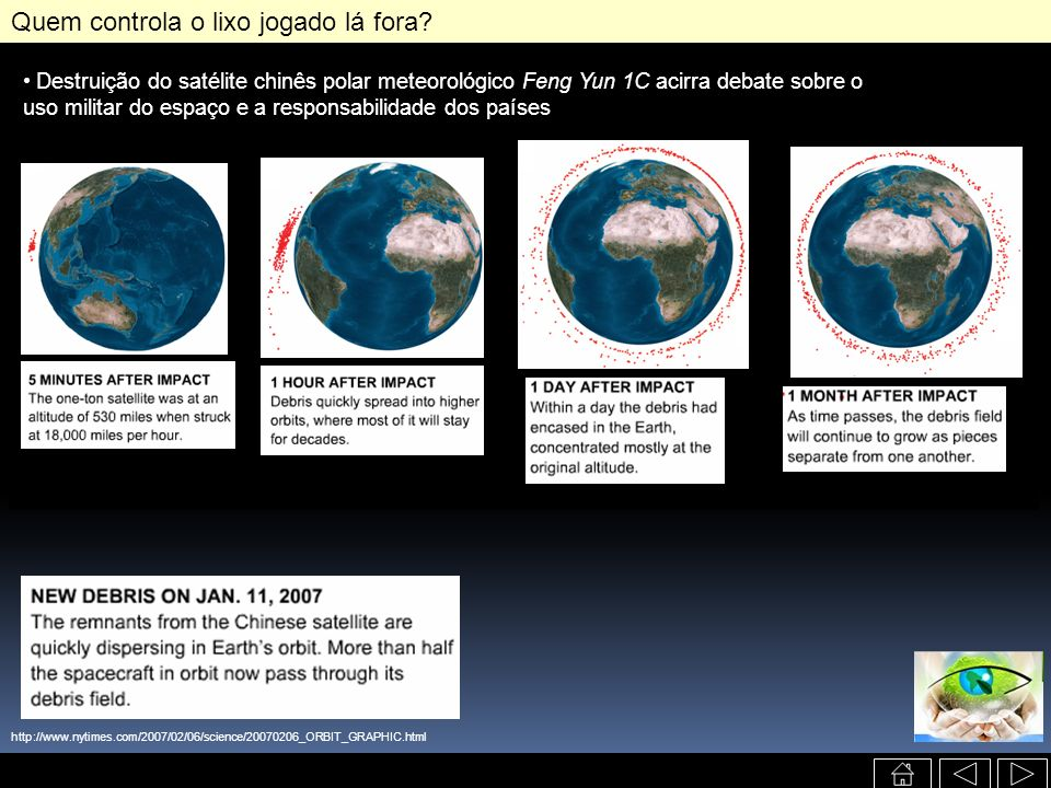 http://www.nytimes.com/2007/02/06/science/20070206_ORBIT_GRAPHIC.html Destruição do satélite chinês polar meteorológico Feng Yun 1C acirra debate sobr