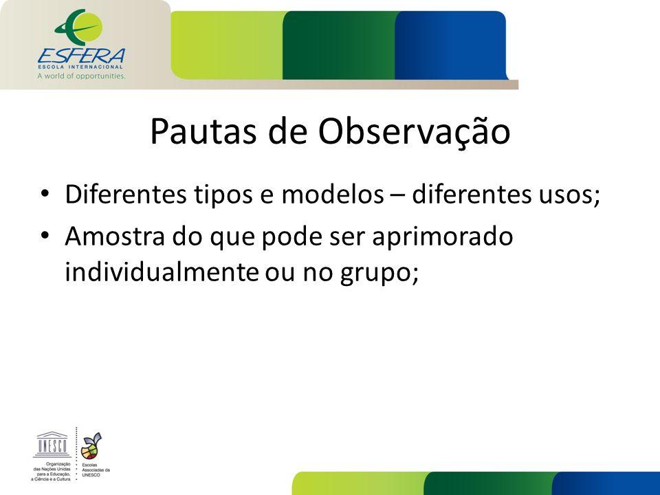Pautas de Observação Diferentes tipos e modelos – diferentes usos; Amostra do que pode ser aprimorado individualmente ou no grupo;
