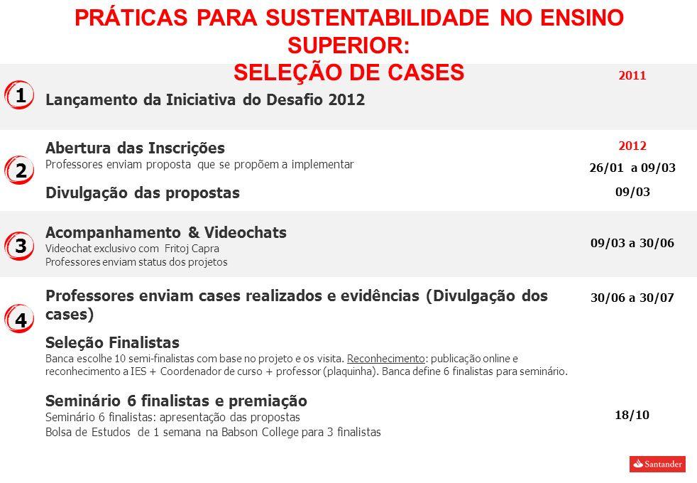 Lançamento da Iniciativa do Desafio 2012 Abertura das Inscrições Professores enviam proposta que se propõem a implementar Professores enviam cases rea