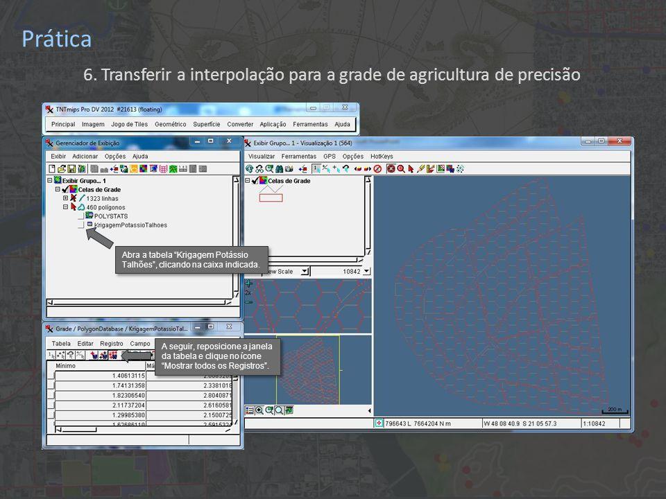 Prática 6. Transferir a interpolação para a grade de agricultura de precisão A seguir, reposicione a janela da tabela e clique no ícone Mostrar todos