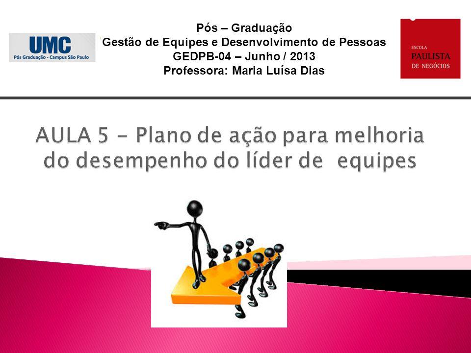 Pós – Graduação Gestão de Equipes e Desenvolvimento de Pessoas GEDPB-04 – Junho / 2013 Professora: Maria Luísa Dias