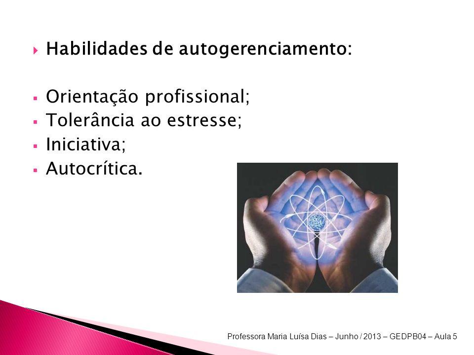 Habilidades de autogerenciamento: Orientação profissional; Tolerância ao estresse; Iniciativa; Autocrítica.