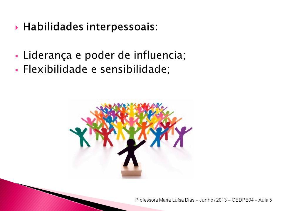 Habilidades interpessoais: Liderança e poder de influencia; Flexibilidade e sensibilidade; Professora Maria Luísa Dias – Junho / 2013 – GEDPB04 – Aula 5