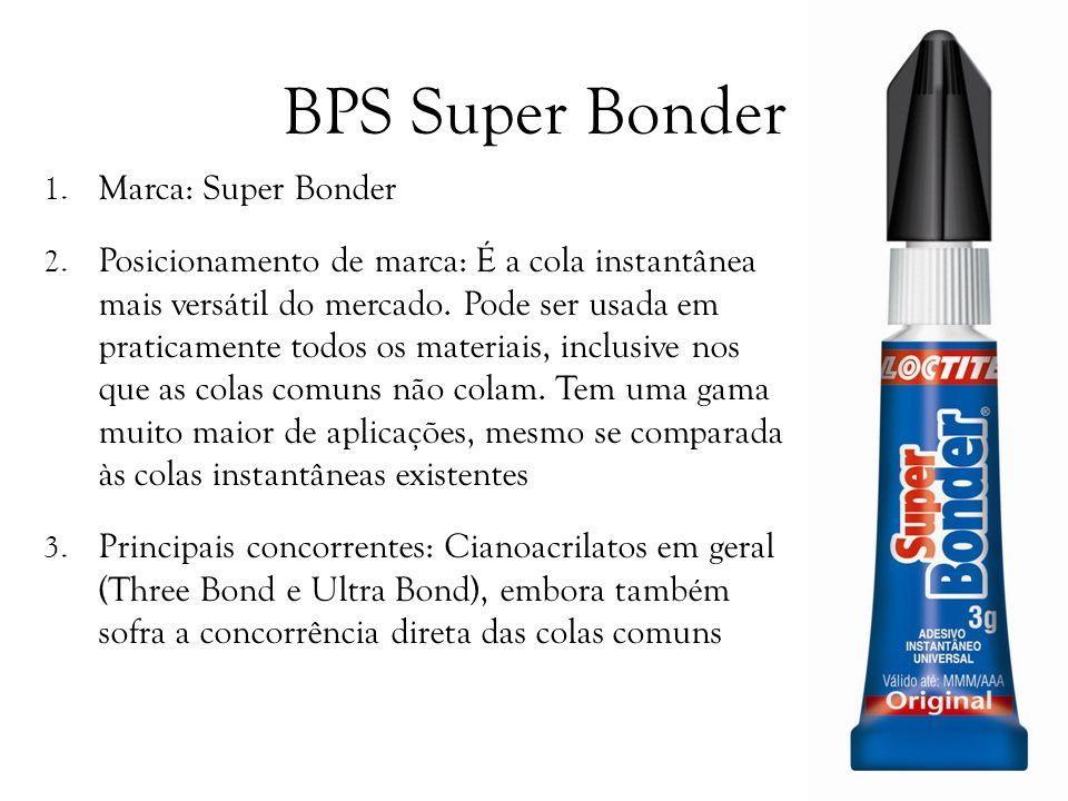 BPS Super Bonder 1. Marca: Super Bonder 2. Posicionamento de marca: É a cola instantânea mais versátil do mercado. Pode ser usada em praticamente todo