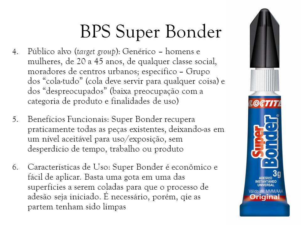 BPS Super Bonder 4. Público alvo ( target group ): Genérico – homens e mulheres, de 20 a 45 anos, de qualquer classe social, moradores de centros urba