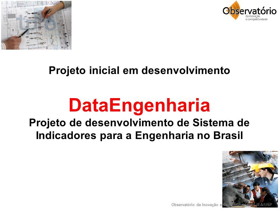 Projeto inicial em desenvolvimento DataEngenharia Projeto de desenvolvimento de Sistema de Indicadores para a Engenharia no Brasil Observatório da Inovação e Competitividade - IEA/USP