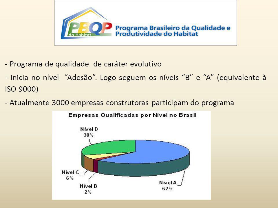 - Programa de qualidade de caráter evolutivo - Inicia no nível Adesão. Logo seguem os níveis B e A (equivalente à ISO 9000) - Atualmente 3000 empresas