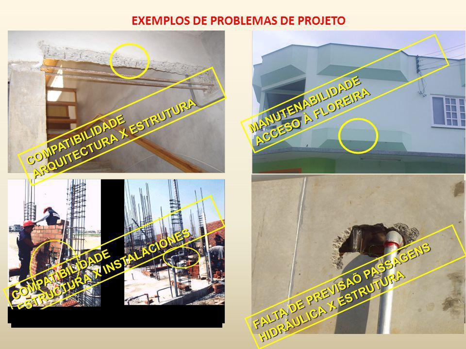 EXEMPLOS DE PROBLEMAS DE PROJETO MANUTENABILIDADE ACCESO À FLOREIRA COMPATIBILIDADE ARQUITECTURA X ESTRUTURA COMPATIBILIDADE ESTRUCTURA X INSTALACIONE