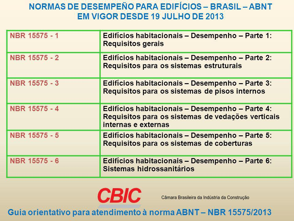 NORMAS DE DESEMPEÑO PARA EDIFÍCIOS – BRASIL – ABNT EM VIGOR DESDE 19 JULHO DE 2013 NBR 15575 - 1Edifícios habitacionais – Desempenho – Parte 1: Requis