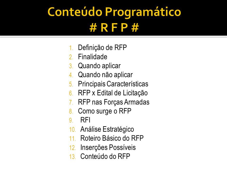 1. Definição de RFP 2. Finalidade 3. Quando aplicar 4. Quando não aplicar 5. Principais Características 6. RFP x Edital de Licitação 7. RFP nas Forças