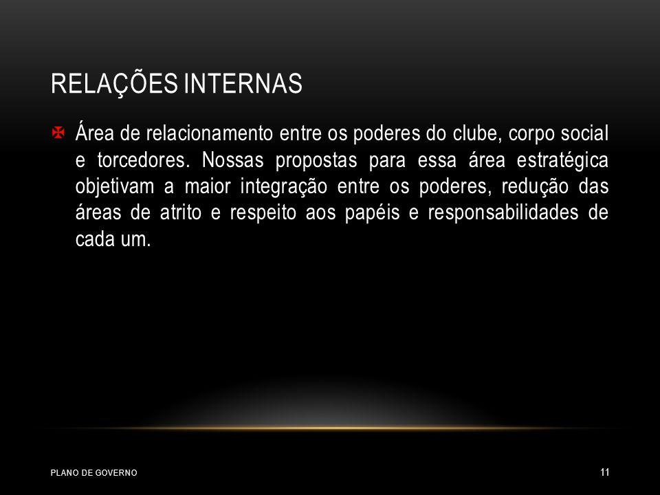 RELAÇÕES INTERNAS Área de relacionamento entre os poderes do clube, corpo social e torcedores. Nossas propostas para essa área estratégica objetivam a