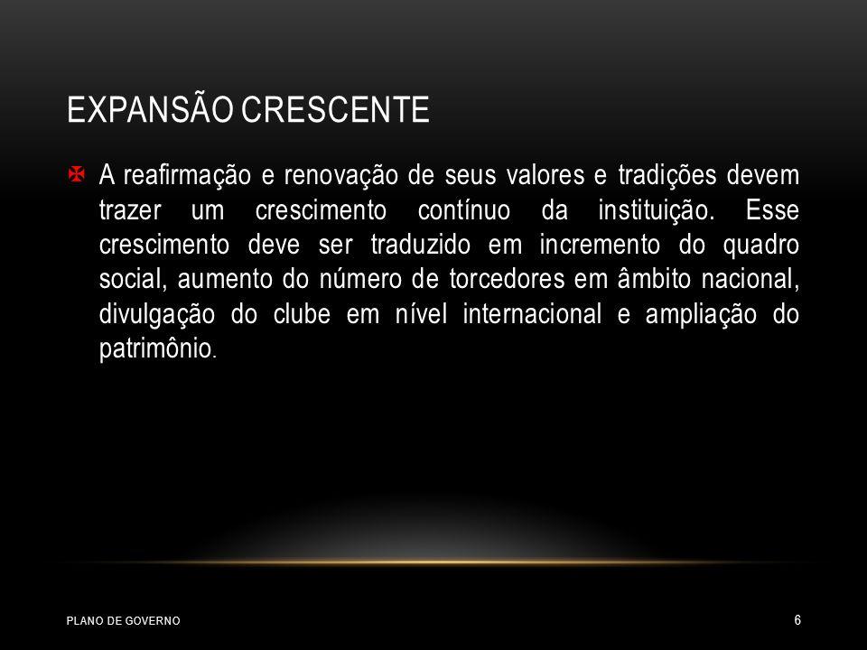 GOVERNANÇA REFORMA E MODERNIZAÇÃO DO ESTATUTO FICHA LIMPA ELEIÇÕES ADEQUAÇÃO DAS CATEGORIAS DE SÓCIOS FACILIDADE DE PAGAMENTO DAS MENSALIDADESDE SÓCIOS ALTERAÇÃO DO TEMPO PARA TER DIREITO A REMISSÃO INDICAÇÃO DE BENEMÉRITOS DEVIDO PROCESSO LEGAL UNIFORME CÓDIGO DE ÉTICA PLANEJAMENTO,ORÇAMENTO E GESTÃO GESTÃO DE COLABORADORES PLANO DE GOVERNO 17