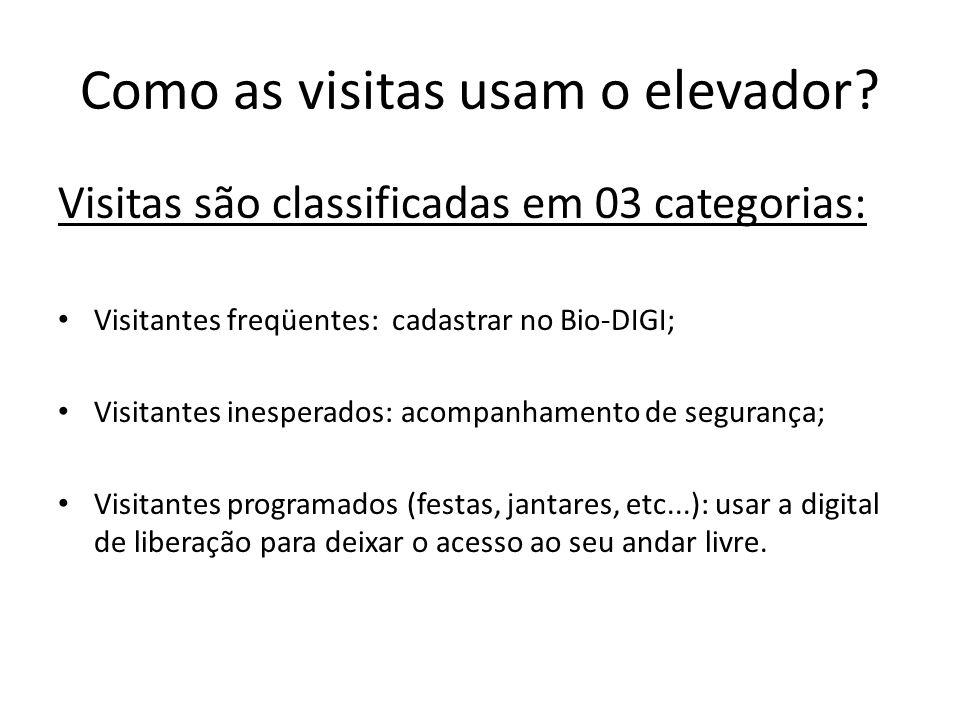 Como as visitas usam o elevador? Visitas são classificadas em 03 categorias: Visitantes freqüentes: cadastrar no Bio-DIGI; Visitantes inesperados: aco