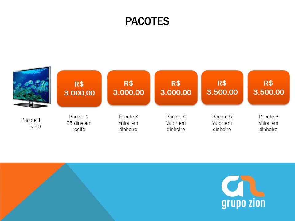 PACOTES Pacote 2 05 dias em recife Pacote 3 Valor em dinheiro Pacote 4 Valor em dinheiro Pacote 5 Valor em dinheiro Pacote 1 Tv 40 R$ 3.000,00 R$ 3.50