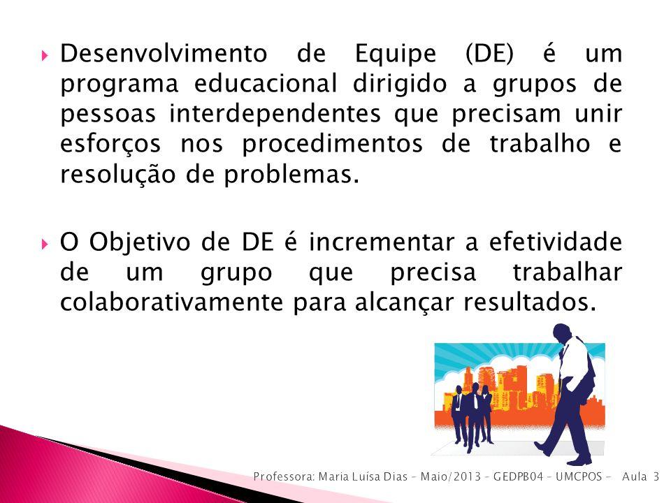 Desenvolvimento de Equipe (DE) é um programa educacional dirigido a grupos de pessoas interdependentes que precisam unir esforços nos procedimentos de