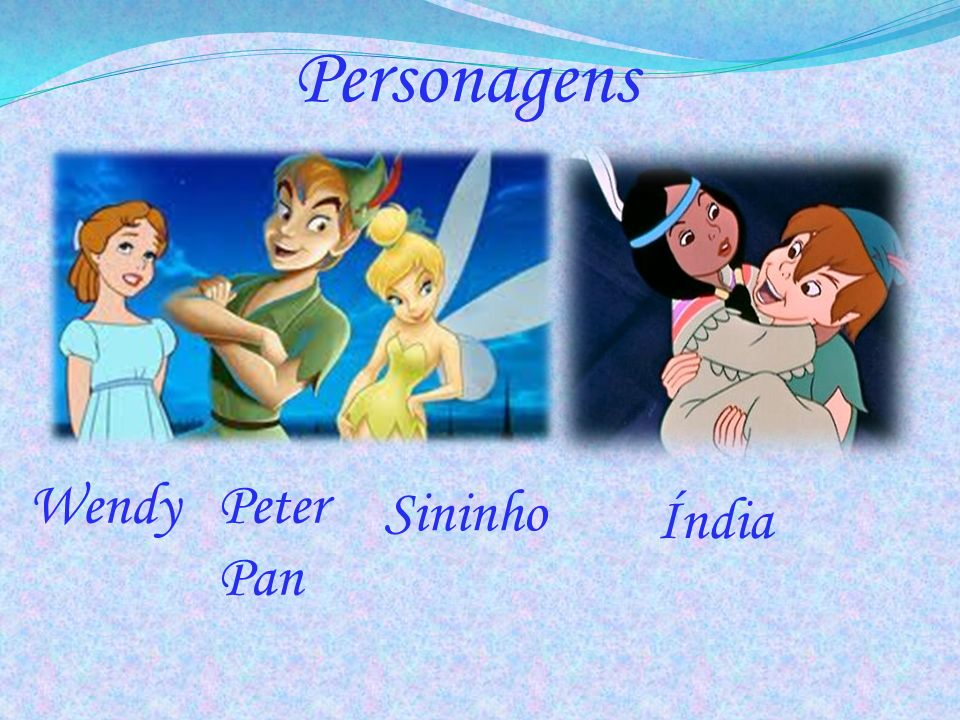 Personagens Peter Pan Wendy Sininho Índia
