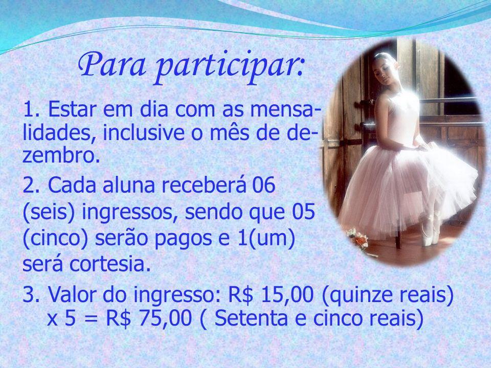 Cálculo para pagamento Ingressos + Fantasia e adereços + Cabelo e Maquiagem = Valor total OBS: No caso de irmãs dançando no festival, a família só terá direito a um pacote de ingressos.