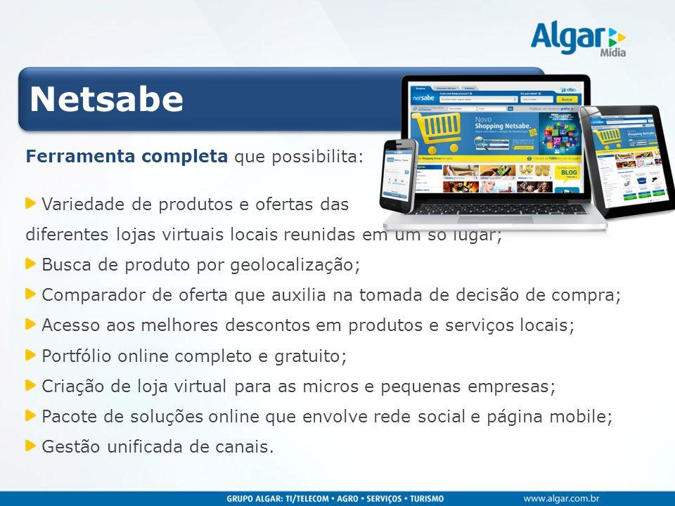 Netsabe Ferramenta completa que possibilita: Variedade de produtos e ofertas das diferentes lojas virtuais locais reunidas em um só lugar; Busca de pr