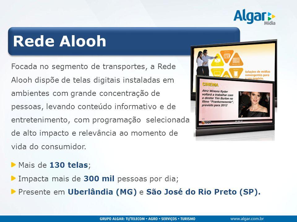 Rede Alooh Focada no segmento de transportes, a Rede Alooh dispõe de telas digitais instaladas em ambientes com grande concentração de pessoas, levand