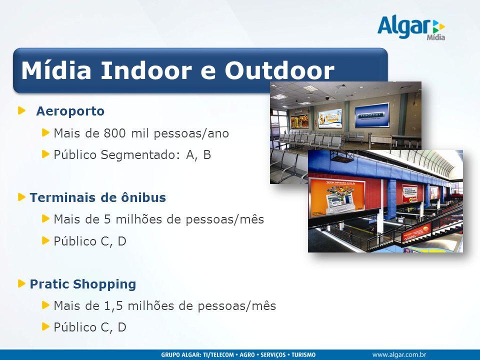 Mídia Indoor e Outdoor Aeroporto Mais de 800 mil pessoas/ano Público Segmentado: A, B Terminais de ônibus Mais de 5 milhões de pessoas/mês Público C,