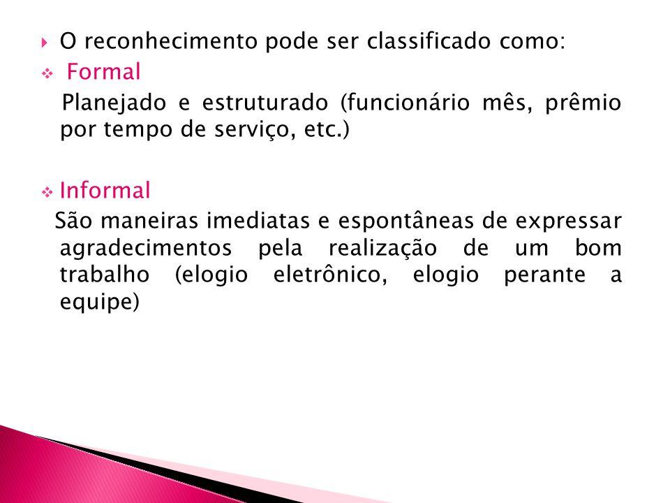 O reconhecimento pode ser classificado como: Formal Planejado e estruturado (funcionário mês, prêmio por tempo de serviço, etc.) Informal São maneiras