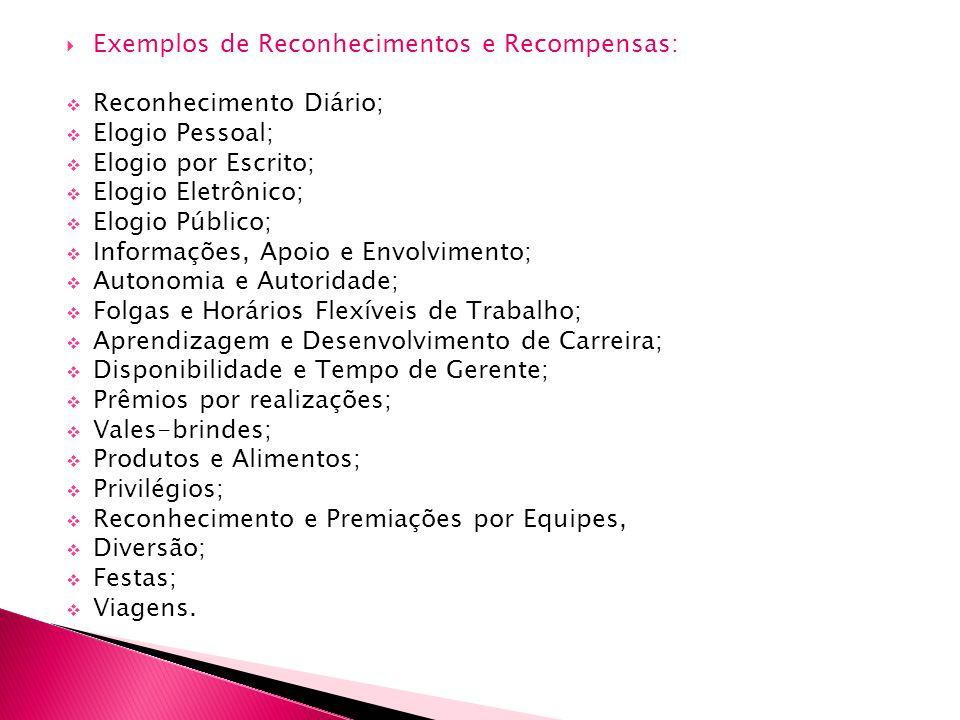 Exemplos de Reconhecimentos e Recompensas: Reconhecimento Diário; Elogio Pessoal; Elogio por Escrito; Elogio Eletrônico; Elogio Público; Informações,