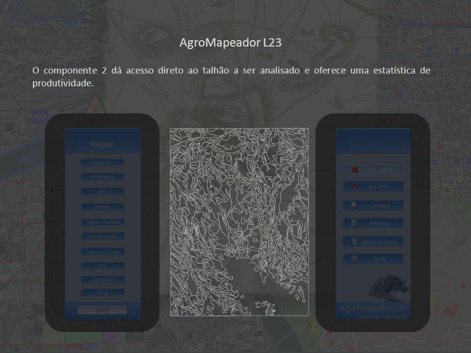 AgroMapeador L23 O componente 2 dá acesso direto ao talhão a ser analisado e oferece uma estatística de produtividade.